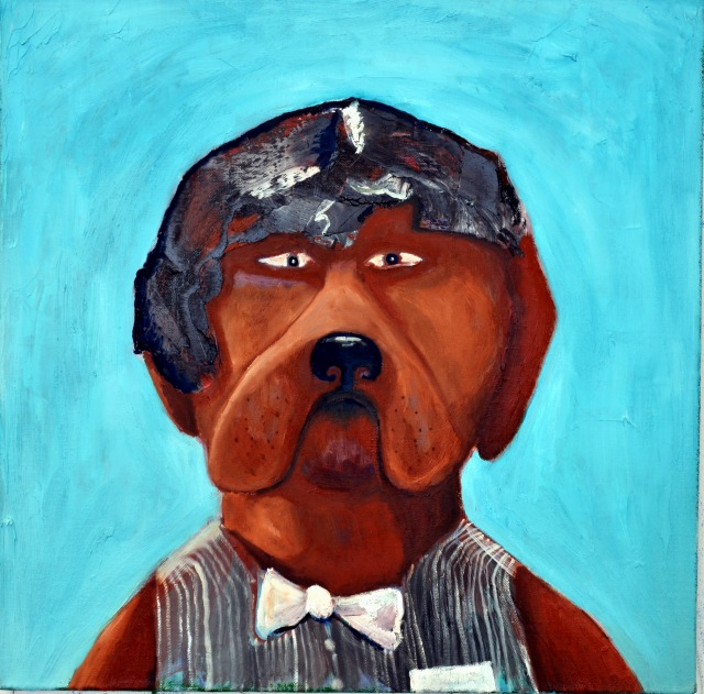 Koirani on portsari, 60 cm x 60 cm, oil on canvas, 2016